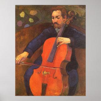 Vintage Kunst, Spieler Schneklud Porträt, Gauguin Poster