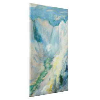 Vintage Kunst, Wasserfall in Yellowstone durch Leinwanddruck