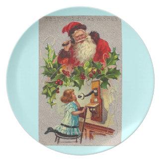 Vintage Kunst Weihnachtsmann am Telefon mit Mädche Party Teller