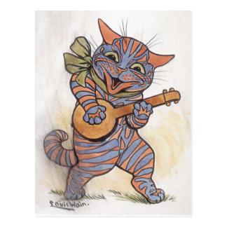 Vintage Kunstpostkarte Katzen-verrückte funky Postkarte