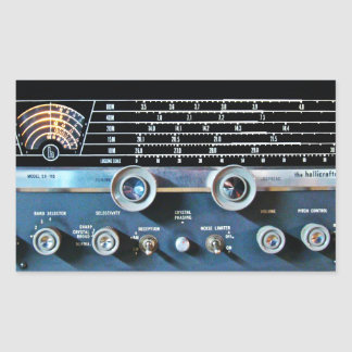 Vintage kurze Wellen-Radiogerät Rechteckiger Aufkleber