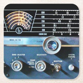 Vintage kurze Wellen-Radiogerät Rechteckiger Pappuntersetzer