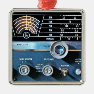 Vintage kurze Wellen-Radiogerät Silbernes Ornament