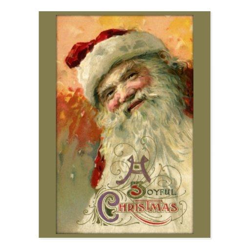 Vintage lächelnde Sankt-Weihnachtspostkarte Postkarten