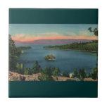 Vintage Lake- Tahoesmaragd-Bucht Kachel