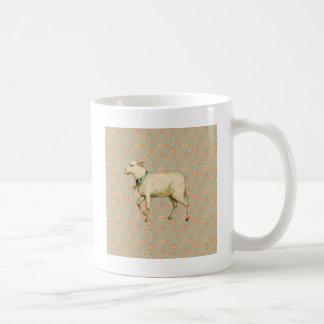 Vintage Lamm-Kunst Kaffeetasse