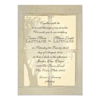 Vintage Land-Fenster-Rahmen-Hochzeit 12,7 X 17,8 Cm Einladungskarte
