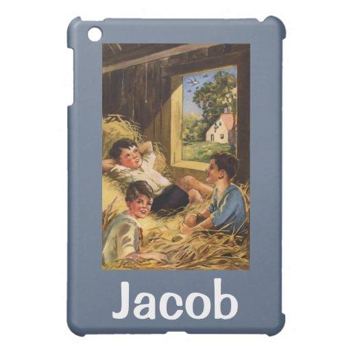 Vintage Land-Jungen in der Scheune iPad Mini Schale