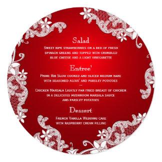 Vintage Land-weiße Spitze-rotes rundes Menü Quadratische 13,3 Cm Einladungskarte