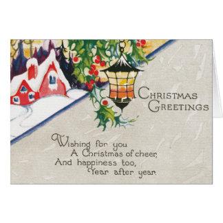 Vintage Laternen-und Stechpalmen-Weihnachtsgrüße Grußkarte