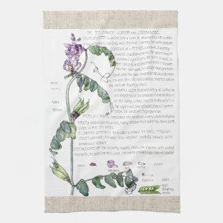Vintage Lathyrus-Erbsen-Blumen-Küchen-Tücher Handtuch