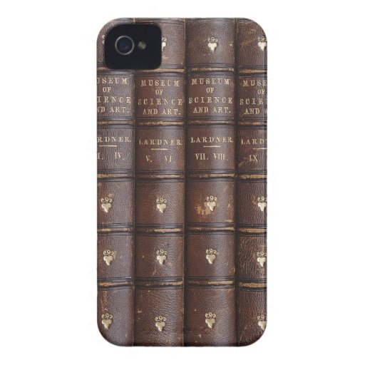Vintage lederne Bibliotheks-Bücher auf dem BlackBe iPhone 4 Case-Mate Hülle