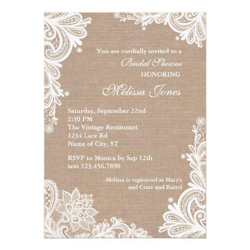 Vintage Leinwand-und Spitze-Brautparty-Einladung