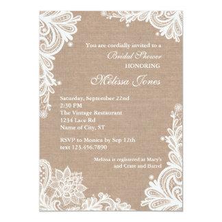 Vintage Leinwand-und Spitze-Brautparty-Einladung 12,7 X 17,8 Cm Einladungskarte