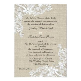 Vintage Leinwand und Spitze-Hochzeit 12,7 X 17,8 Cm Einladungskarte