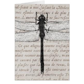 Vintage Libellen-und Antiken-Text-Collage Karte