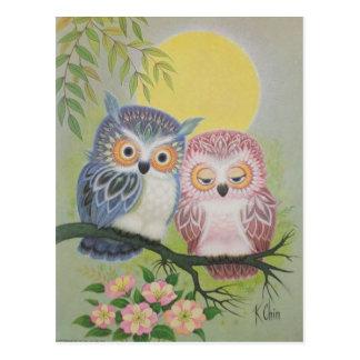 Vintage Liebe-Eulen Postkarte