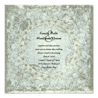 Vintage Liebe-Gedicht-blaues Grau-Damast-Hochzeit Quadratische 13,3 Cm Einladungskarte