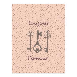 Vintage Liebe-Herzen u. französische Schlüssel Postkarte