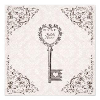 Vintage Liebe-Schlüssel-Hochzeits-Einladung