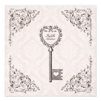 Vintage Liebe-Schlüssel-Hochzeits-Einladung #V1