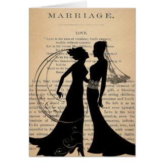 Vintage Liebe u. Heirat lesbisches Wedding Grußkarte