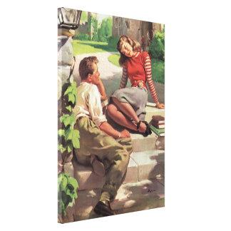 Vintage Liebe und Romance, Highschool Schatze Leinwanddruck