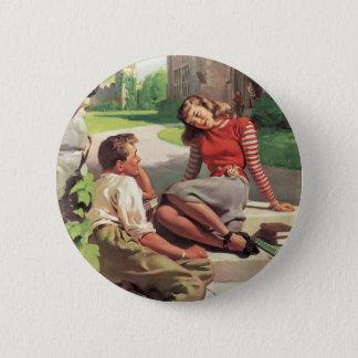 Vintage Liebe und Romance, Highschool Schatze Runder Button 5,7 Cm
