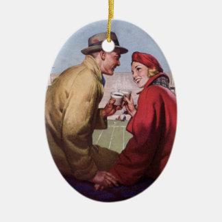 Vintage Liebe und Romance, Paare am Fußball-Spiel Keramik Ornament