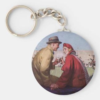 Vintage Liebe und Romance, Paare am Fußball-Spiel Schlüsselanhänger