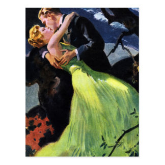 Vintage Liebe und Romance, romantischer Kuss Postkarte
