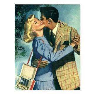Vintage Liebe und Romance, Weihnachtstanz Postkarte