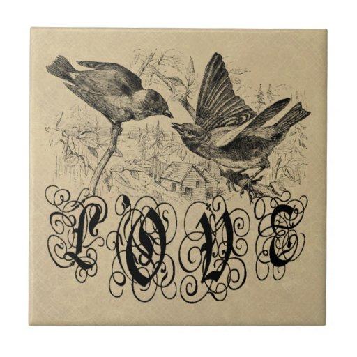 Vintage Liebe-Vögel Kleid und Geschenke Keramikkacheln