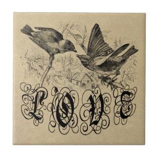 Vintage Liebe-Vögel Kleid und Geschenke Kleine Quadratische Fliese