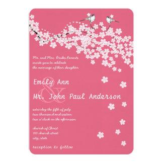 Vintage Liebe-Vogel-rosa Kirschblüten-Hochzeiten 12,7 X 17,8 Cm Einladungskarte