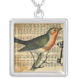 Vintage Liebe-Vogel-Schlüssel-Halskette Halskette Mit Quadratischem Anhänger