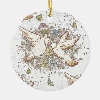 Vintage Liebe-Vögel, zwei weiße Tauben mit Blumen Rundes Keramik Ornament
