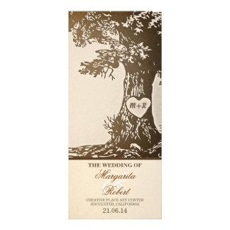 Vintage Liebebaum-Hochzeitsprogramme Individuelle Werbe Karte