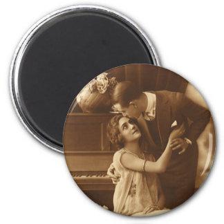 Vintage Liebhaber, Liebe-Romance romantische Musik Runder Magnet 5,7 Cm