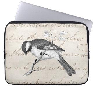 Vintage Lied-Vogel-Illustration - Text der Laptop Sleeve Schutzhüllen