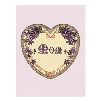 Vintage lila Herz-Postkarte Postkarten