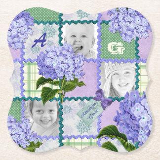 Vintage lila Hydrangea Instagram Foto-Steppdecke Untersetzer