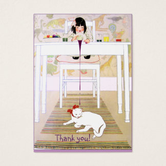 Vintage lila Katze danken Ihnen Visitenkarte