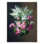 Vintage lila Rosen-und weißefliedern Photographien