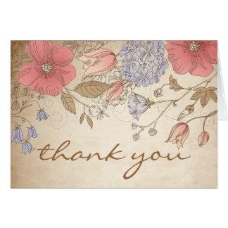 Vintage lila und rote Blumen danken Ihnen zu Grußkarte