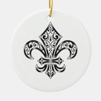 Vintage Lilie mit Rollen in der Wappenkunde-Art Rundes Keramik Ornament
