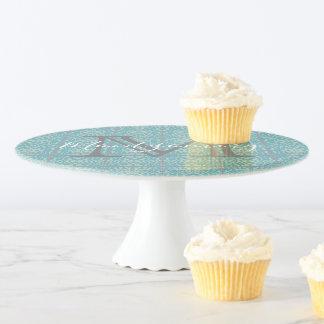 Vintage Lilien-Blumenfliesen-Kuchen-Stand Tortenplatte