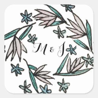 Vintage Lilien-Monogramm-Aufkleber Quadratischer Aufkleber