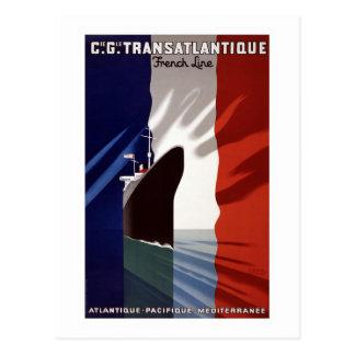 """Vintage Linie Franzosen C.G. Transatlantique Ship Postkarte"
