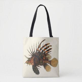 Vintage Lionfish-Fische, Marineozean-Leben-Tier Tasche